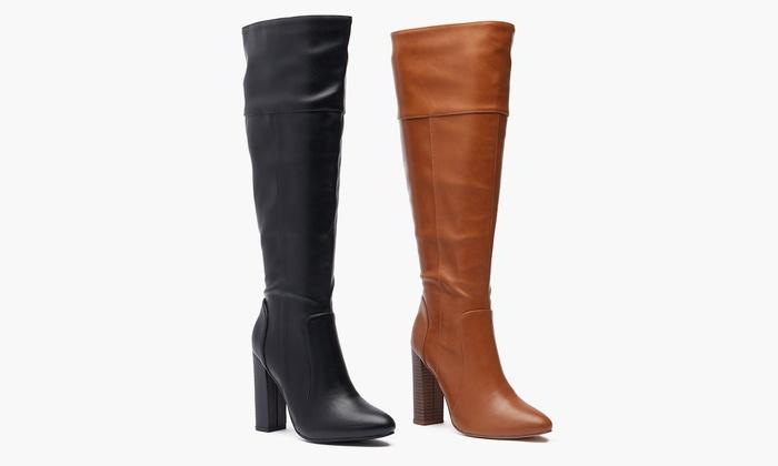 High-Heel Wide-Calf Boots