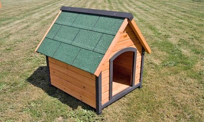 Outdoor timber dog house kennel groupon goods for Best deals on dog kennels