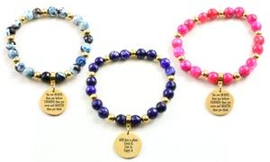 Pink Box Genuine Gemstone Inspirational Stretch Bracelet