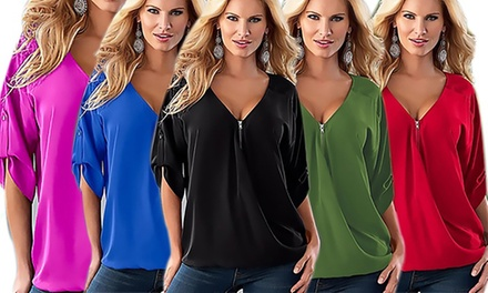 Zip Front Chiffon Top: One $15 or Two $25