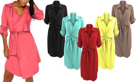 Crepe-Textured Belted Shirt Dress