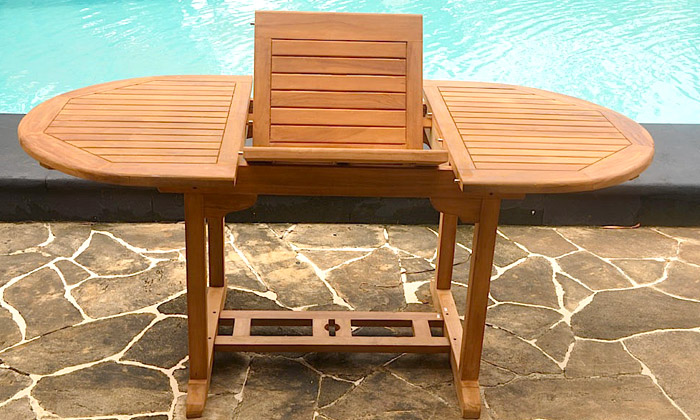 Salon jardin teck brut groupon shopping - Table de jardin rallonge papillon ...