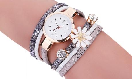 Reloj para mujer con correa adornada con colgantes en forma de margarita y cristal