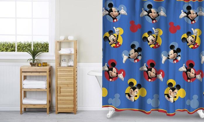 Disney Shower Curtain & Bath Mat Set | Groupon