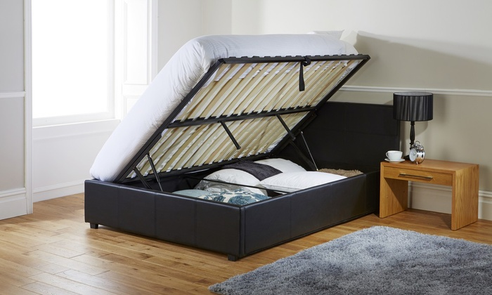 Ottoman Storage Bed Frame with Optional Memory Foam or Bonnell Mattress