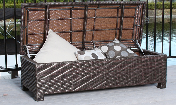 Santa Cruz Outdoor Wicker Storage Ottoman ...