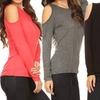 Women's Long-Sleeve Cold-Shoulder Knit Top (2-Pack)