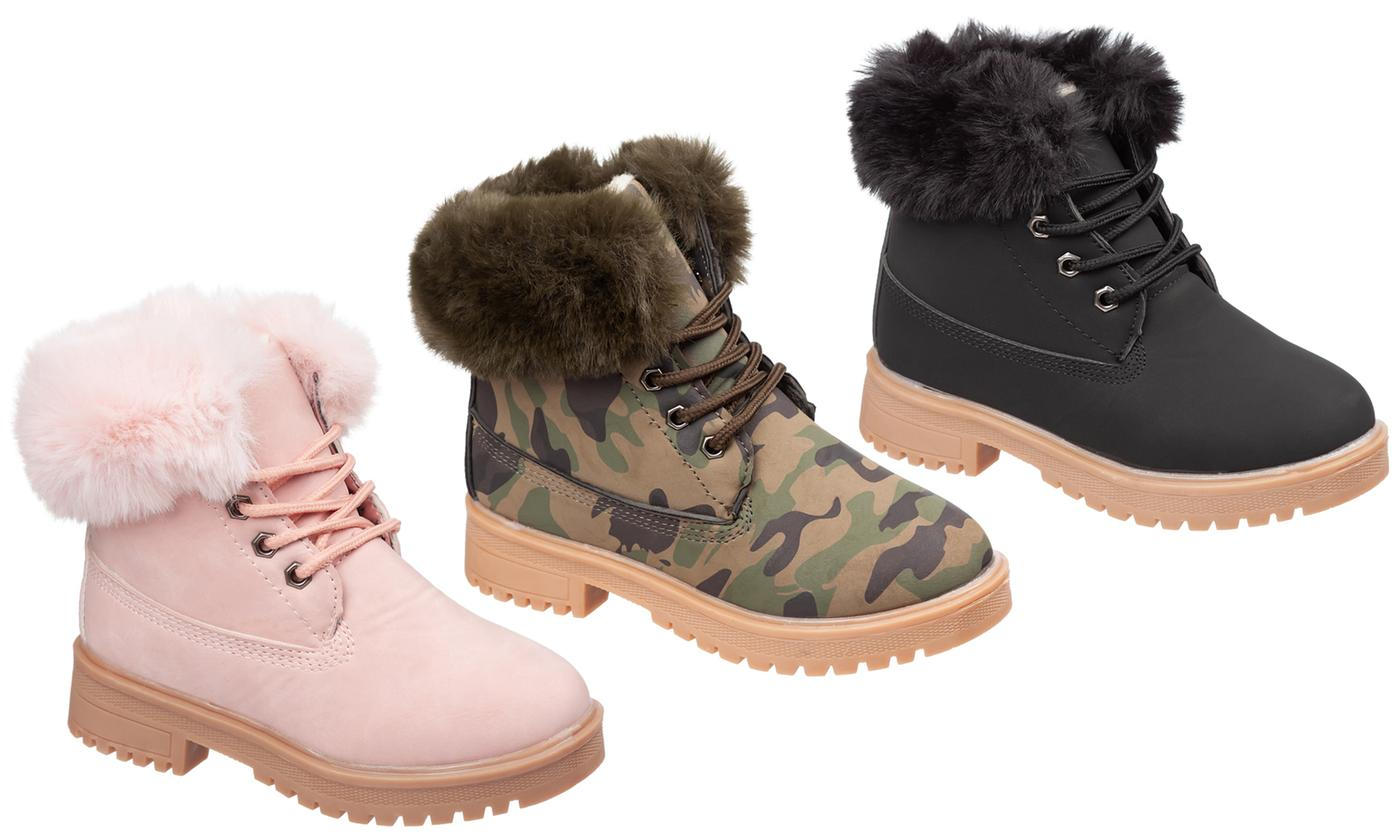 Girls Fashion Ankle Boots with Faux Fur
