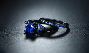 2.5 CTW Solitaire Stone Blue Spinel Stone Engagement Ring Set by Sevil