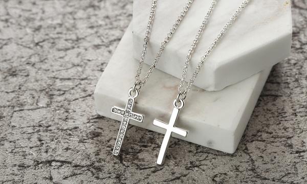 Collier Philip Jones pendentif croix lisse, ou orné de cristaux Swarovski®