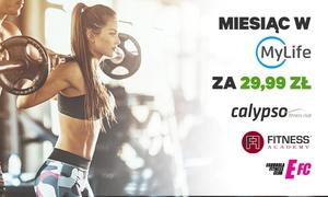 MyLife: 29,99 zł: miesięczne członkostwo fitness w MyLife - Calypso, Fitness Academy, Egurrola Fitness Club
