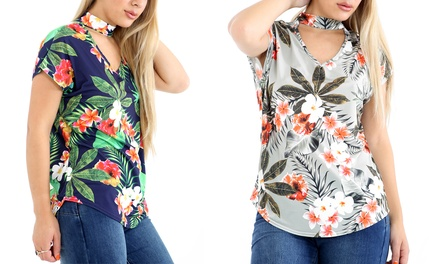 Tropical Floral Choker Top