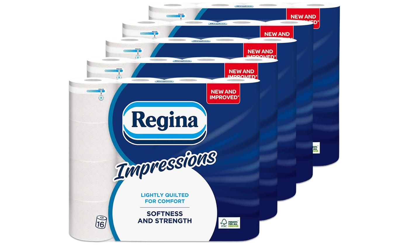 80 Rolls of Regina Impressions Three-Ply Toilet Paper