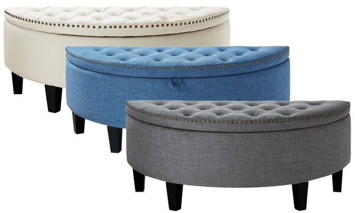 Linen Modern Button Tufted Nailhead Trim Half Moon Storage Ottoman: Linen  Modern Button Tufted ...