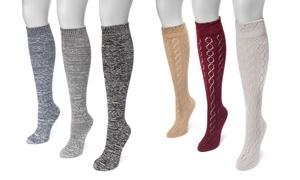 Muk Luks Women's Diamond Knee-High Socks (3 Pairs)