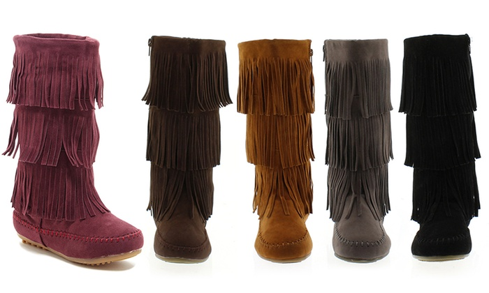quality lower price with sale Up To 46% Off on Women's Three-Layer Fringe Boots | Groupon ...