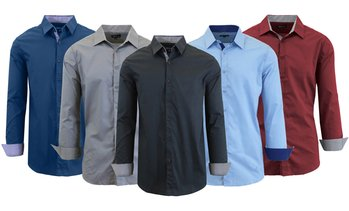 2d8ab47e02cfa1 image placeholder Men's Long-Sleeve Solid Slim-Fit Casual Dress Shirts  (2-Pack)
