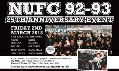 image for NUFC 92-93 25th Anniversary Event, 2 March 2018 at Nine Sports Bar & Lounge (Up to 46% Off)