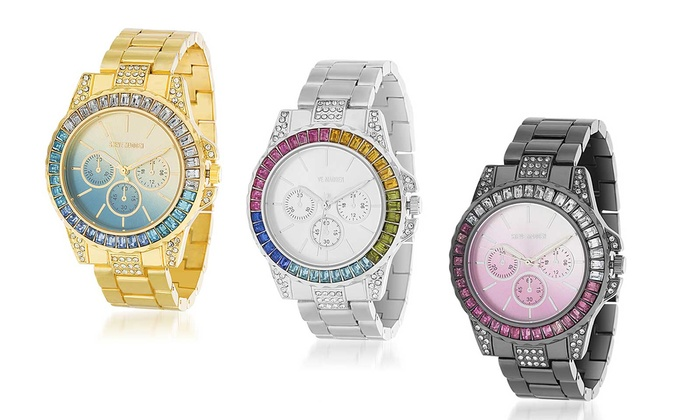 c70a1f36cf3df Steve Madden Rainbow Baguette-Shaped Crystal Link Band Watch