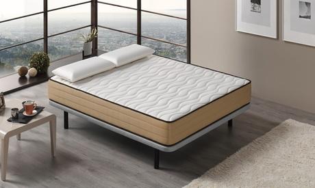 Pack de colchón de tela de bambú y 1 o 2 almohadas con tejido de soja