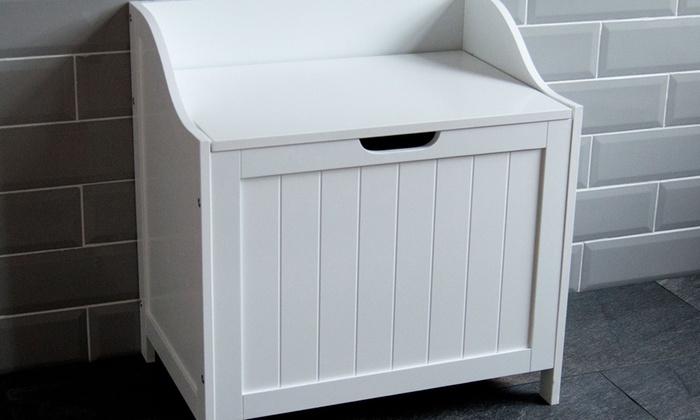 White Wooden Laundry Hamper