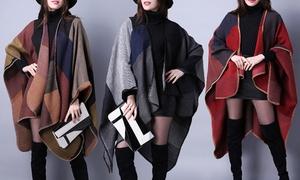 Vincenza Women's Oversized Poncho Blanket Scarf