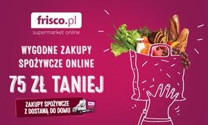 Frisco.pl: 9,99 zł zamiast 50 zł lub 14,99 zł zamiast 75 zł do Frisco.pl na pierwsze zakupy spożywcze z dostawą  do domu