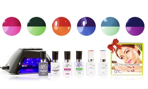 UV-Nails Mood-Changing Gel Nail Polish Starter Kit with Remover Wraps