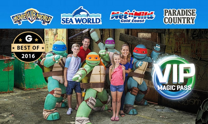 Village Roadshow Theme Parks - Multiple Locations: $89.99 VIP Magic Pass: Unlimited Entry to Warner Bros. Movie World, Sea World, Wet'n'Wild Gold Coast + Paradise Country