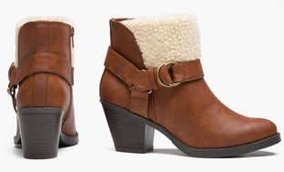 Olive Street Microsuede Bootie w/ Faux-Shearling Cuff (Size 7)