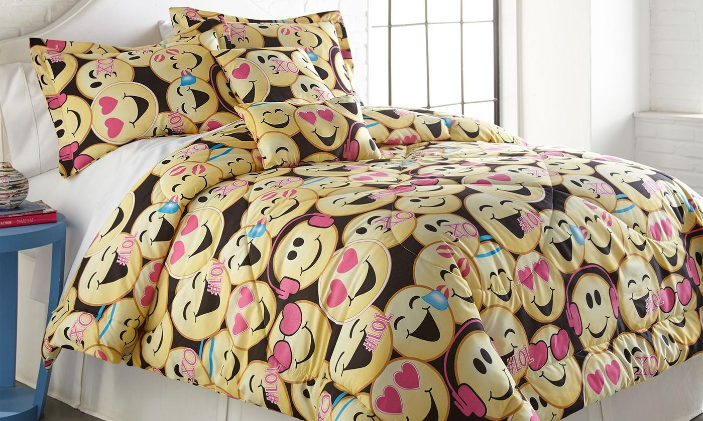Emoji Collection Printed Comforter Set (4-or 5-Piece) - Twin