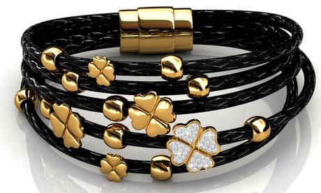 Bracciali intrecciati in pelle con cristalli Swarovski® disponibili in 2 modelli e colori