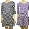 Long-Sleeve Striped Maternity Dress