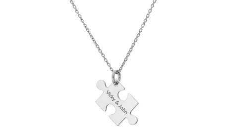 Puzzle Piece Necklace with Custom Engraving