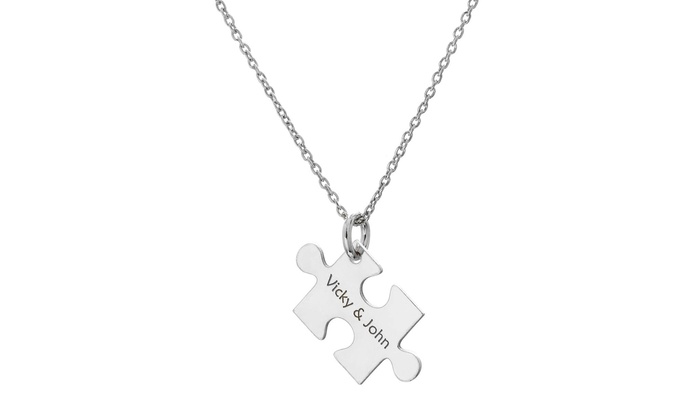 Puzzle piece necklace with custom engraving up to 91 off groupon puzzle piece necklace with custom engraving up to 91 off aloadofball Gallery