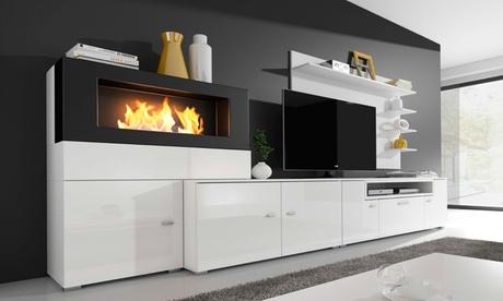 Mueble de salón con chimenea Olympo disponible en 2 colores