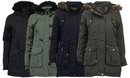 Brave Soul Women's Hooded Parka Jacket in Choice of Colour and Size