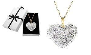 18K Gold Plated Sterling Silver Heart Necklace with Swarovski Crystals