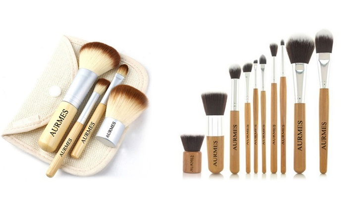 Four-Piece (£6.90) or Ten-Piece (£9.90) Make-Up Brushes Set