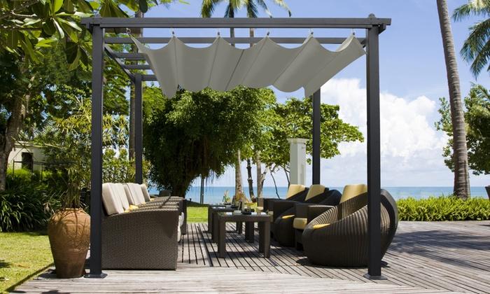 rideaux pour pergola jardin trendy rideau de pergola idaces de pergola avec rideaux moderne. Black Bedroom Furniture Sets. Home Design Ideas