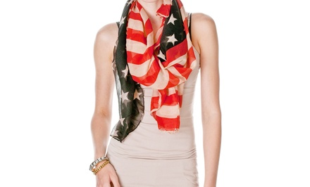 Riverberry Women's Vintage American Flag Scarf
