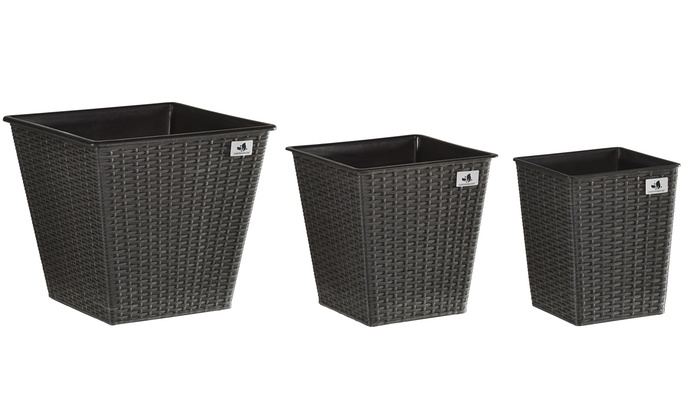 3er-Set Polyrattan-Pflanzkübel | Groupon Goods