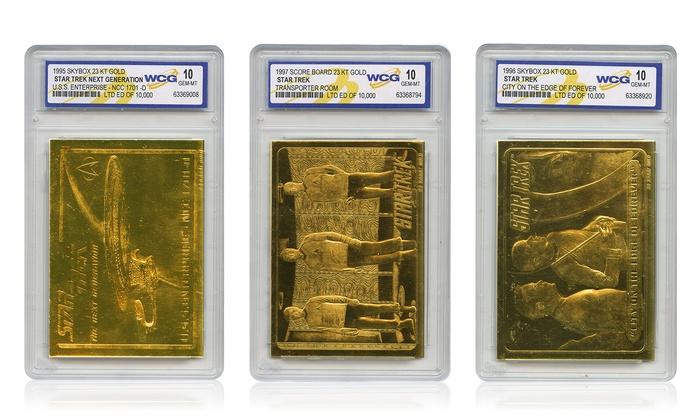 Star Trek Original or The Next Generation 23K Gold Cards Graded MT 10 (Set of 3)