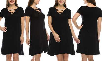 85188e12e4d Shop Groupon Nelly Women s Criss-Cross Dress. Plus Sizes Available.