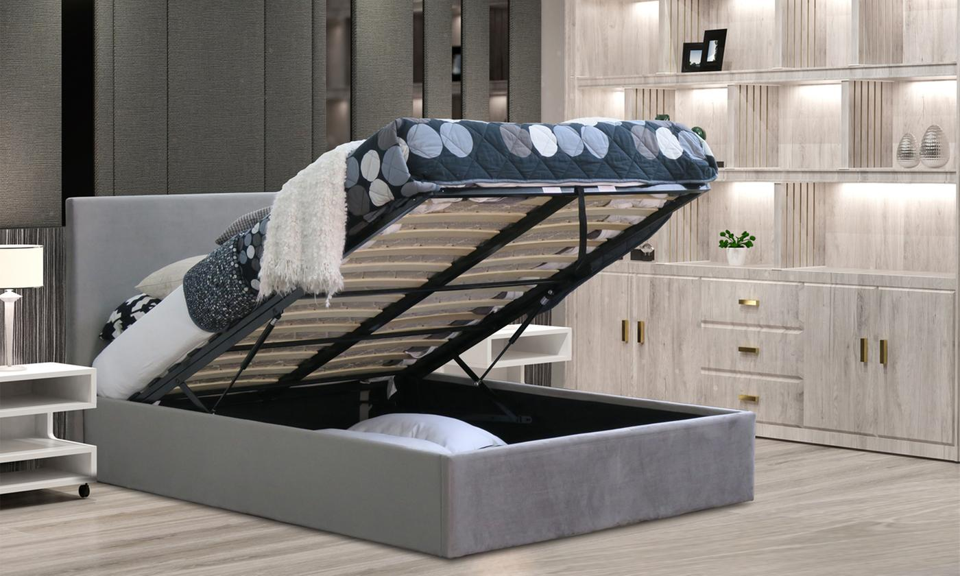 Brushed Velvet Ottoman Bed With Optional Mattress 163 175