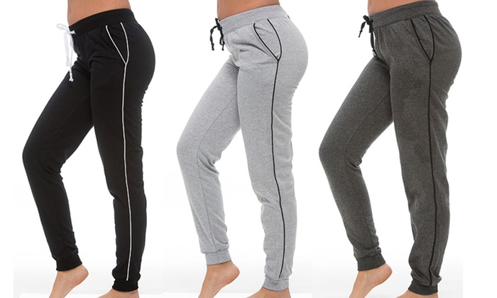 Coco Limon Women's Plus Size Fleece Joggers with Pockets (3-Pack)