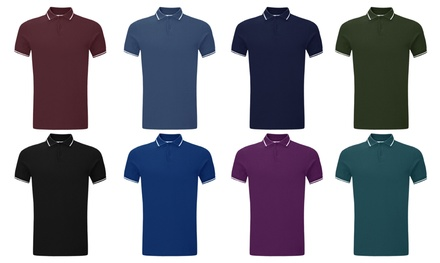 Mens Tipping Collared Polo T-Shirt in Choice of Colour and Size