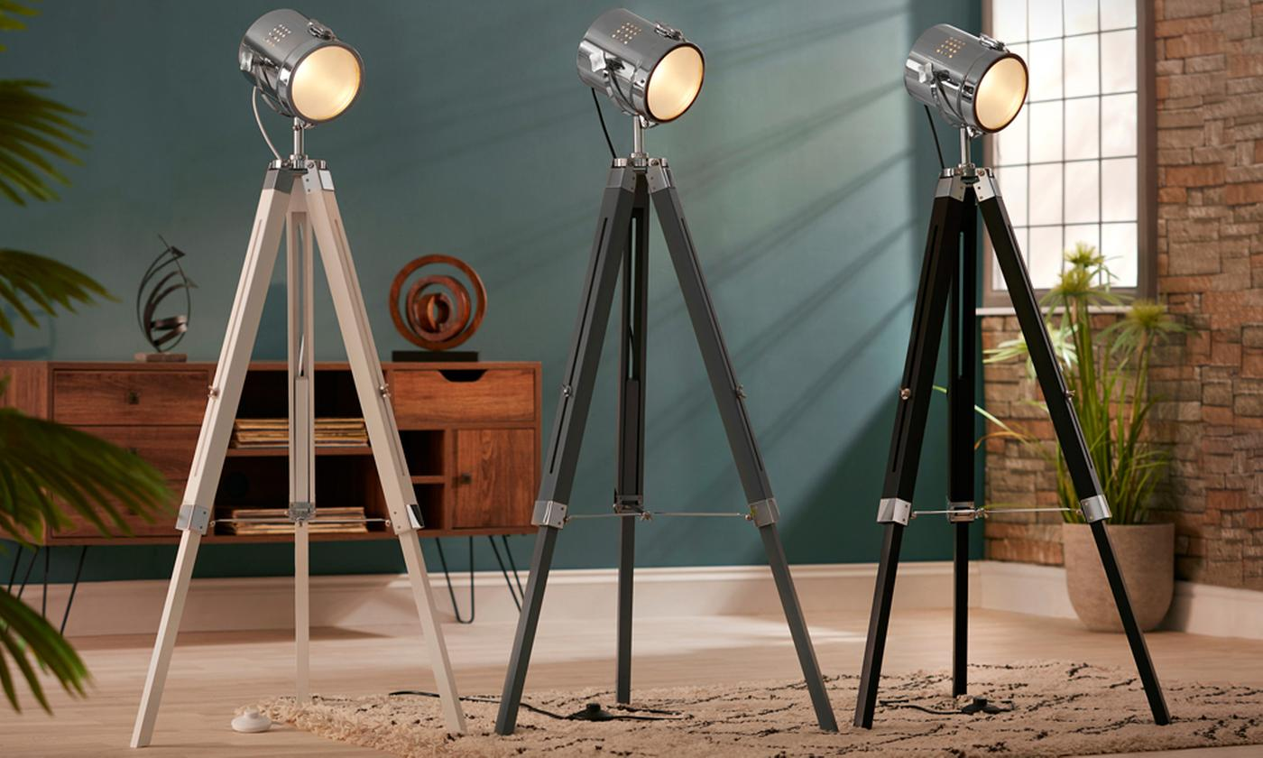 One or Two Nautical-Style Tripod Floor Lamps in Choice of Colour With Free Delivery