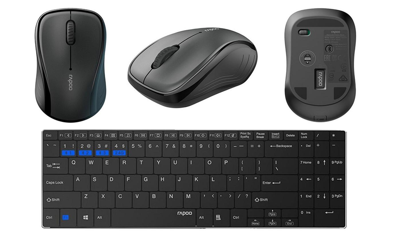 One or Two Rapoo 9060M Multi-Mode Wireless Keyboard and Mouse Sets