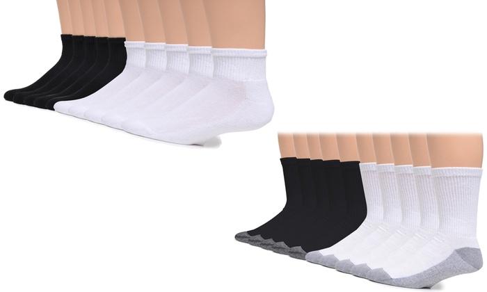 6-12 GILDAN Cotton Crew Socks Shoe Size Black 10 pair $24.99